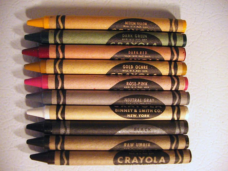 Brown packing paper and crayons